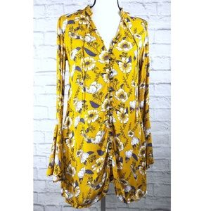 Xhilaration Mustard Floral Button V Neck Top